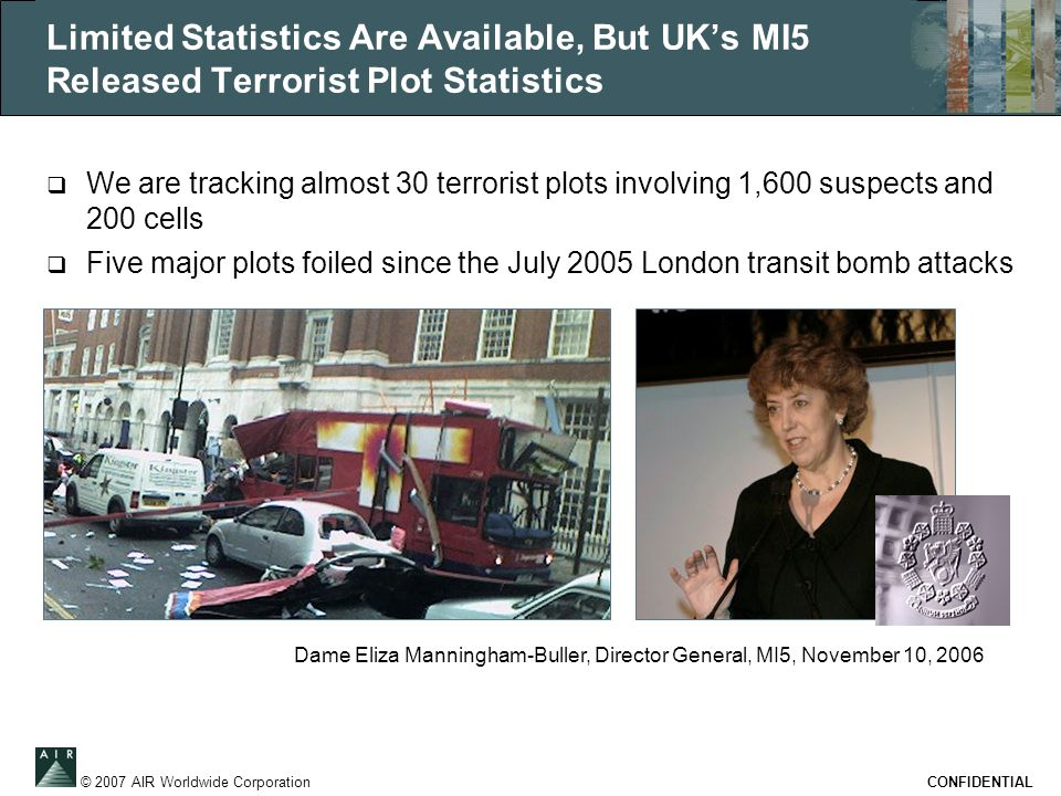 © 2007 AIR Worldwide Corporation CONFIDENTIAL Limited Statistics Are Available, But UK's MI5 Released Terrorist Plot Statistics  We are tracking almost 30 terrorist plots involving 1,600 suspects and 200 cells  Five major plots foiled since the July 2005 London transit bomb attacks Dame Eliza Manningham-Buller, Director General, MI5, November 10, 2006