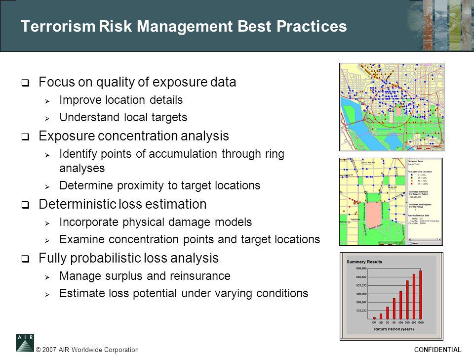 © 2007 AIR Worldwide Corporation CONFIDENTIAL Terrorism Risk Management Best Practices  Focus on quality of exposure data  Improve location details