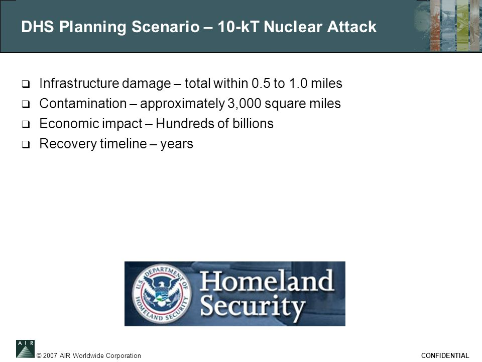 © 2007 AIR Worldwide Corporation CONFIDENTIAL DHS Planning Scenario – 10-kT Nuclear Attack  Infrastructure damage – total within 0.5 to 1.0 miles  Contamination – approximately 3,000 square miles  Economic impact – Hundreds of billions  Recovery timeline – years