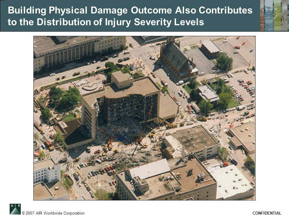 © 2007 AIR Worldwide Corporation CONFIDENTIAL Building Physical Damage Outcome Also Contributes to the Distribution of Injury Severity Levels