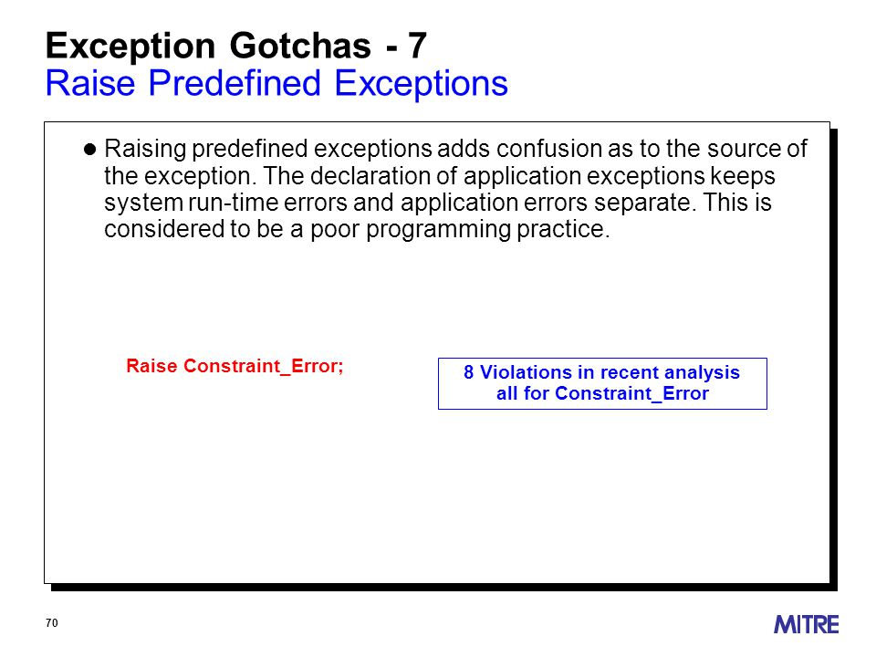 70 Exception Gotchas - 7 Raise Predefined Exceptions l Raising predefined exceptions adds confusion as to the source of the exception.
