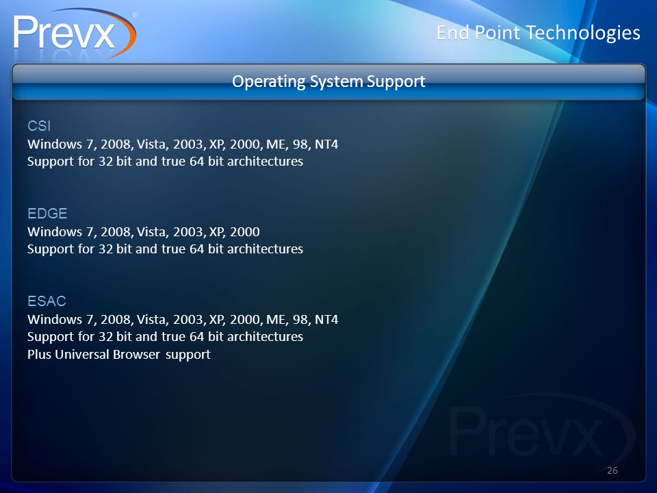 Operating System Support CSI Windows 7, 2008, Vista, 2003, XP, 2000, ME, 98, NT4 Support for 32 bit and true 64 bit architectures EDGE Windows 7, 2008, Vista, 2003, XP, 2000 Support for 32 bit and true 64 bit architectures ESAC Windows 7, 2008, Vista, 2003, XP, 2000, ME, 98, NT4 Support for 32 bit and true 64 bit architectures Plus Universal Browser support End Point Technologies 26