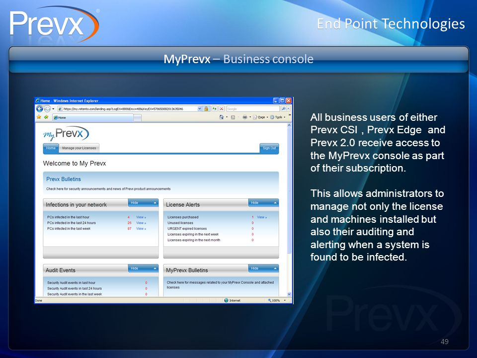 MyPrevx – Business console End Point Technologies All business users of either Prevx CSI, Prevx Edge and Prevx 2.0 receive access to the MyPrevx console as part of their subscription.