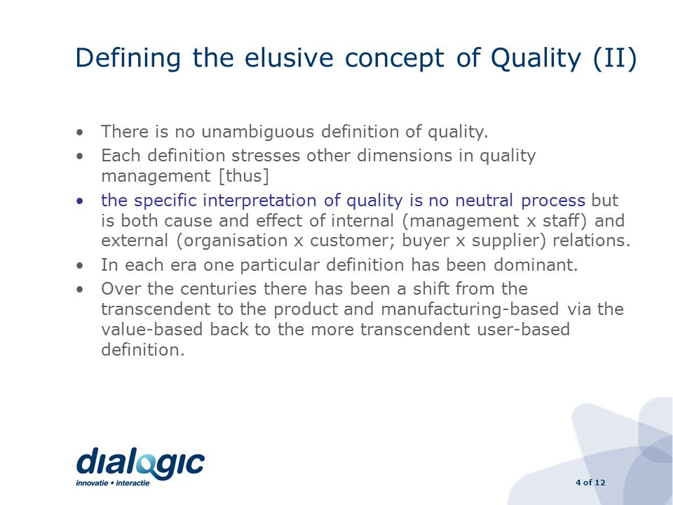 4 of 12 Defining the elusive concept of Quality (II) There is no unambiguous definition of quality.