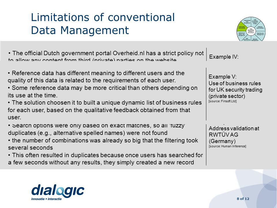 8 of 12 Limitations of conventional Data Management Ex ante objective criteria are never 100% complete –It is impossible to define beforehand all possible combinations –If you do not include enough combinations you miss the 'fuzzy' ones –If many combinations are included filtering takes too long The (futile) effort to go for 100% accuracy hampers process outsourcing Reference data has different meanings to different people; the quality of this reference data is related to the requirements of each user 350,000 objects x 3 types of address x 15 object categories Search options were only based on exact matches, so all 'fuzzy' duplicates (e.g., alternative spelled names) were not found the number of combinations was already so big that the filtering took several seconds This often resulted in duplicates because once users has searched for a few seconds without any results, they simply created a new record Example III: Address validation at RWTÜV AG (Germany) [source: Human Inference] The official Dutch government portal Overheid.nl has a strict policy not to allow any content from third (private) parties on the website.