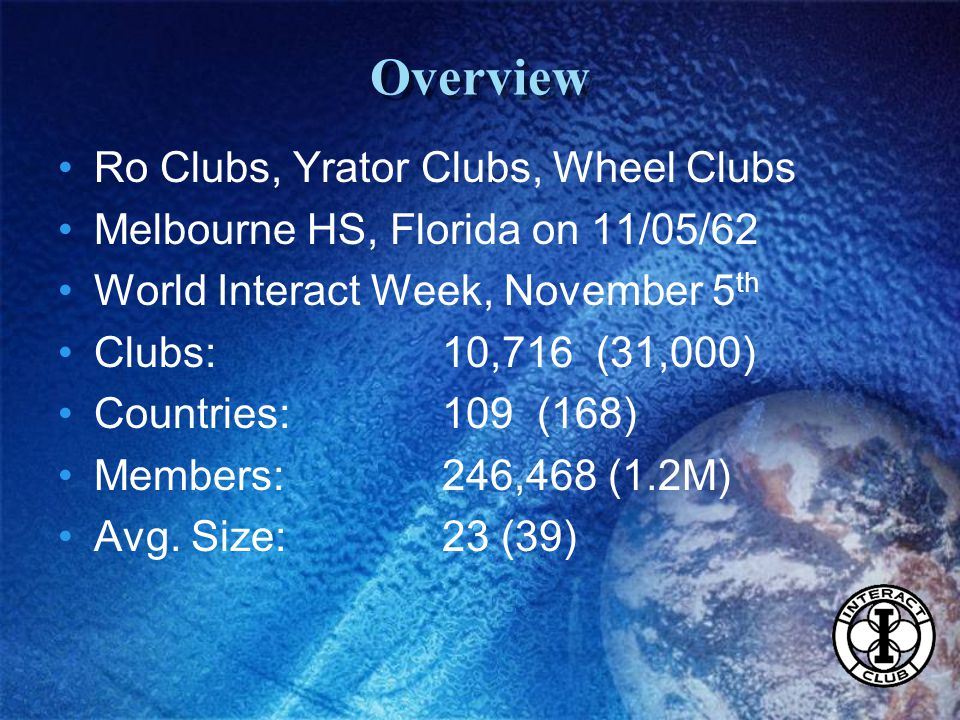 Ro Clubs, Yrator Clubs, Wheel Clubs Melbourne HS, Florida on 11/05/62 World Interact Week, November 5 th Clubs:10,716 (31,000) Countries:109 (168) Members: 246,468 (1.2M) Avg.