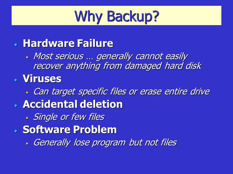Tips and Suggestions Clean up before you backup Clean up before you backup If your plan is to do a full backup or image then take a few minutes to delete junk If your plan is to do a full backup or image then take a few minutes to delete junk Run Disk Cleanup Run Disk Cleanup START  All Programs  Accessories  System Tools  Disk Cleanup … read description and follow suggestions START  All Programs  Accessories  System Tools  Disk Cleanup … read description and follow suggestions Clear any files that you don't want Clear any files that you don't want Run Image Backup about monthly … incremental backups weekly Run Image Backup about monthly … incremental backups weekly If you are paranoid about losing data … run more frequently.