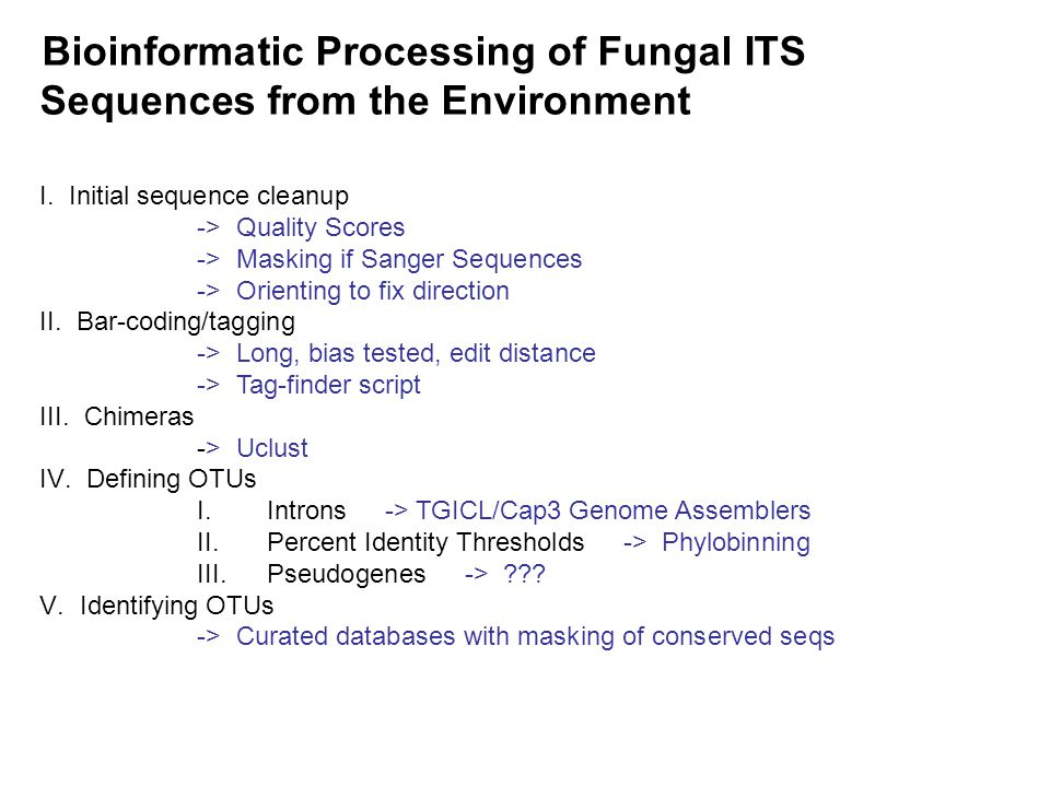 Bioinformatic Processing of Fungal ITS Sequences from the Environment I.