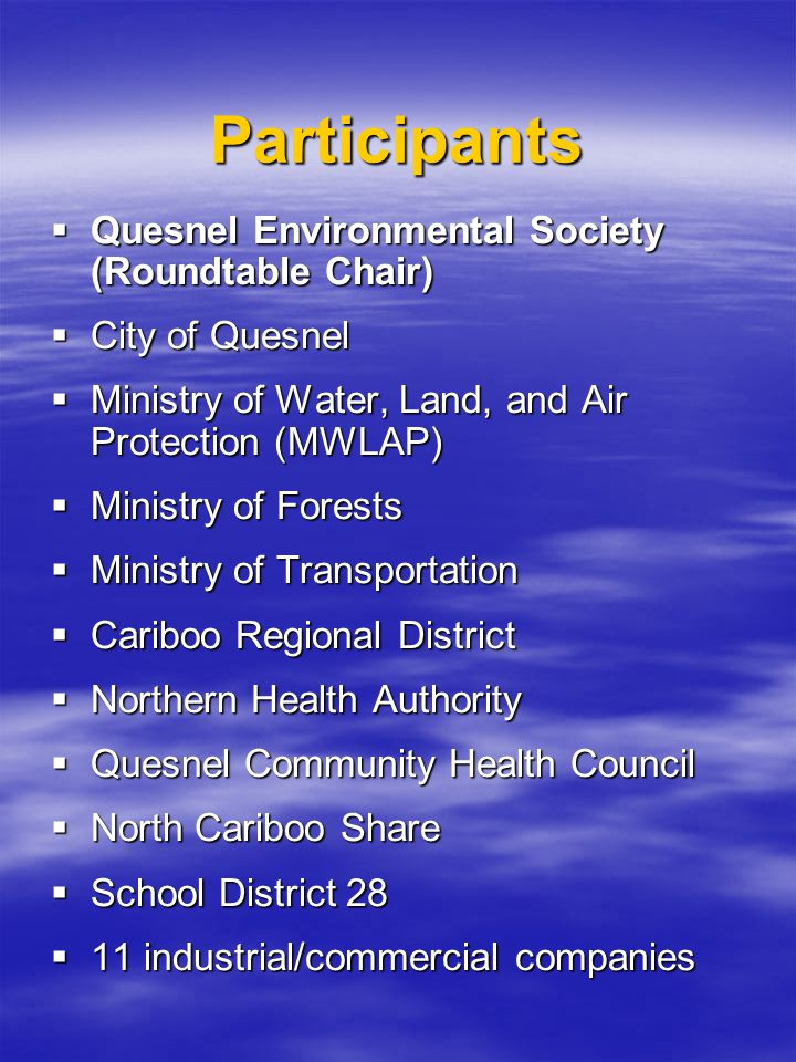 Project History  Quesnel Environmental Society tabled project proposal developed with assistance from MWLAP and local government  Six-year project (half-way through year four) aimed at producing Airshed Management Plans for both communities
