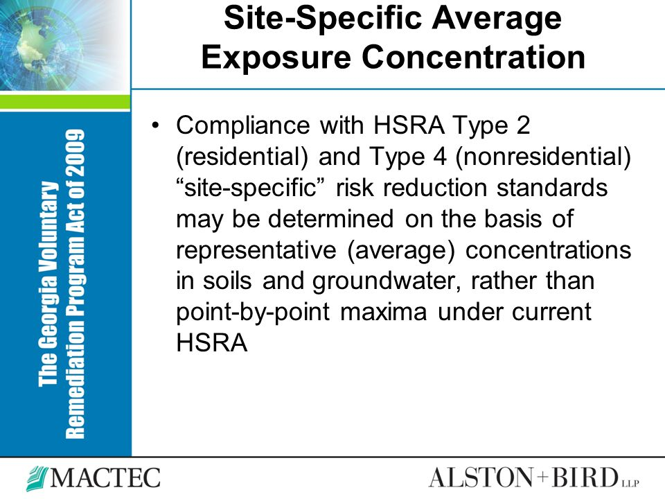 "Site-Specific Average Exposure Concentration Compliance with HSRA Type 2 (residential) and Type 4 (nonresidential) ""site-specific"" risk reduction stan"