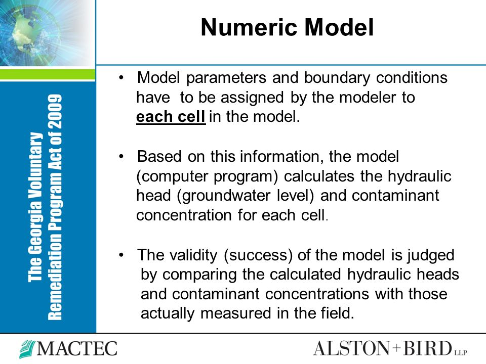 Numeric Model Model parameters and boundary conditions have to be assigned by the modeler to each cell in the model. Based on this information, the mo