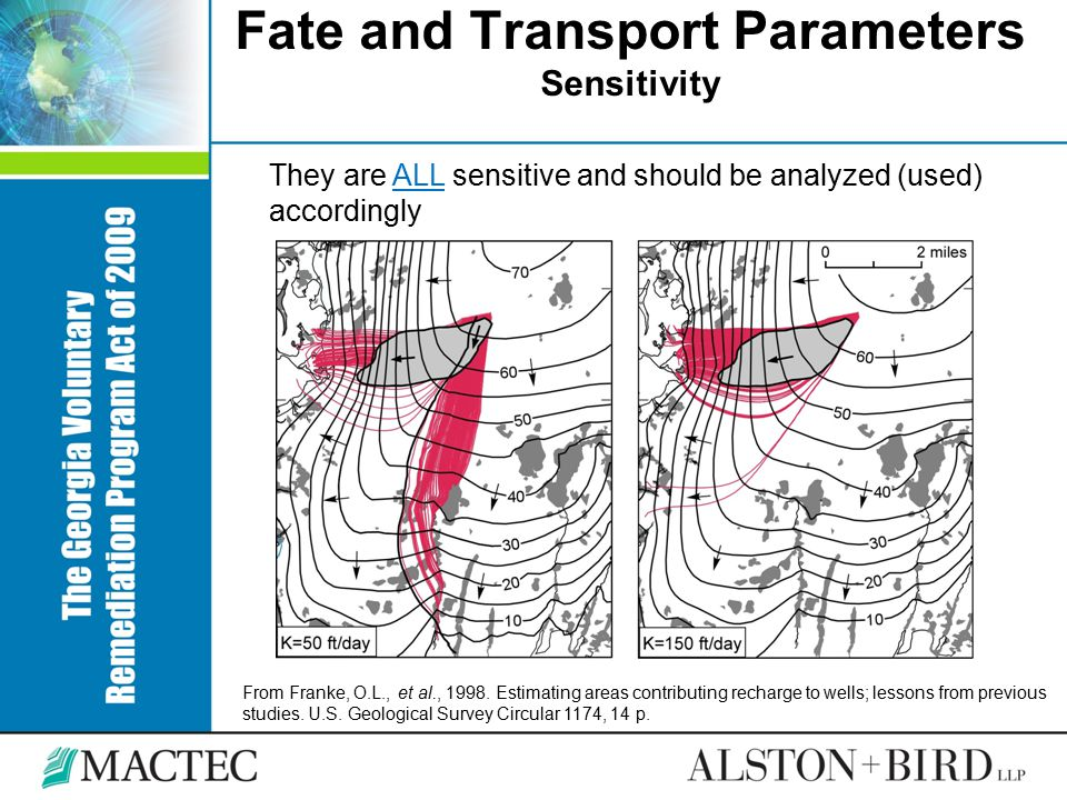 Fate and Transport Parameters Sensitivity They are ALL sensitive and should be analyzed (used) accordingly From Franke, O.L., et al., 1998. Estimating