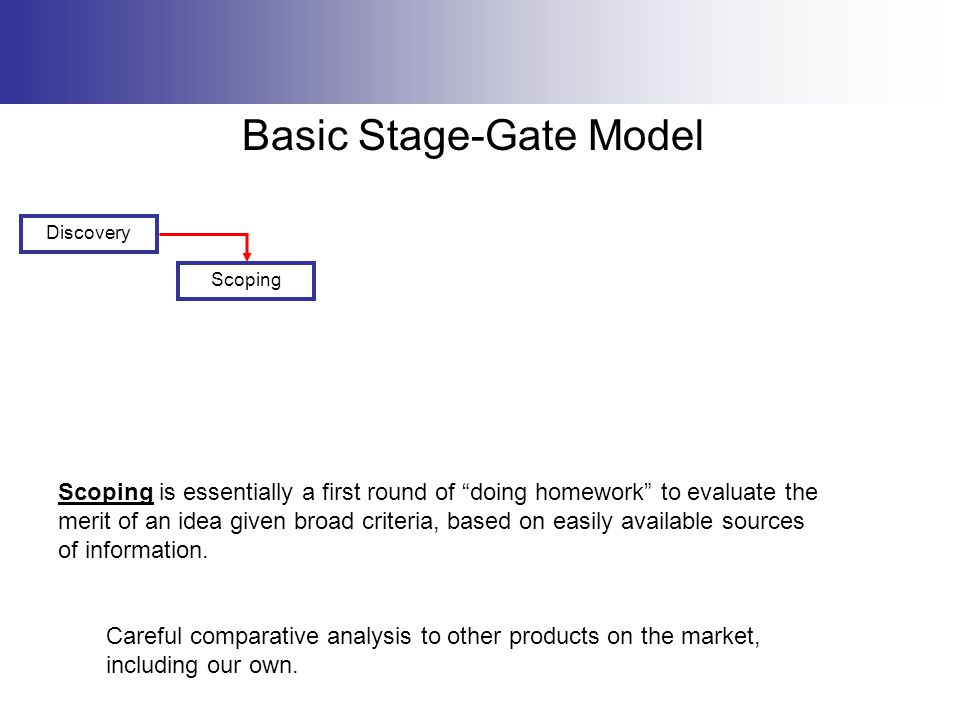 """Basic Stage-Gate Model Discovery Scoping is essentially a first round of """"doing homework"""" to evaluate the merit of an idea given broad criteria, based"""