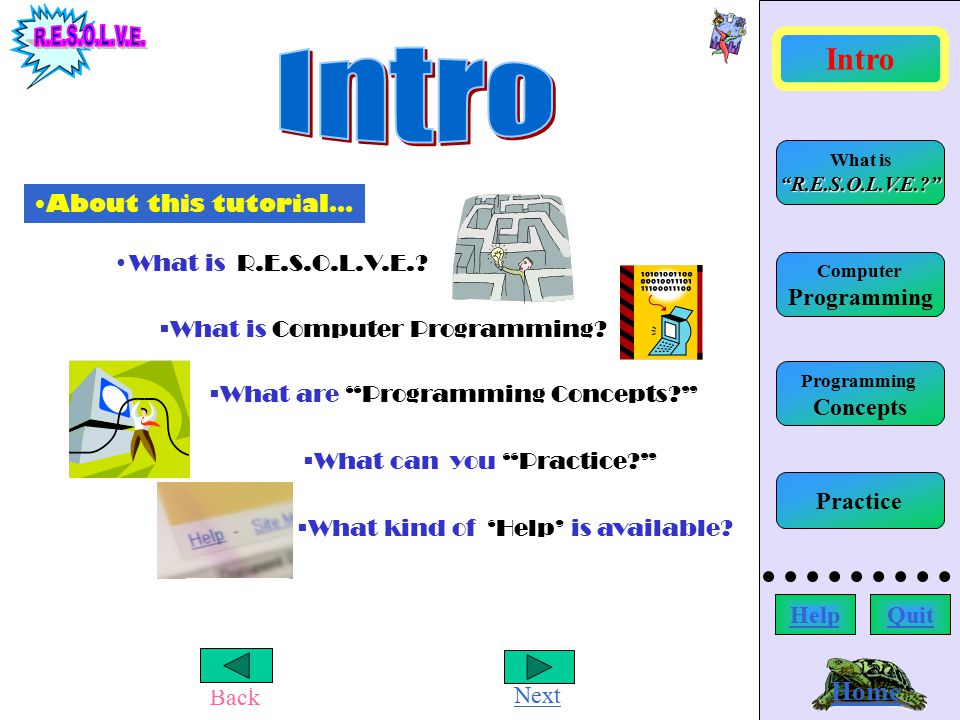 Back Next Writing Commands Home Computer Programming What is R.E.S.O.L.V.E.? Intro HelpQuit Programming Concepts Practice Reflect: Where does the error occur.