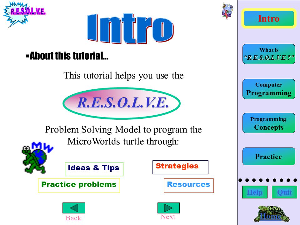 Back Next Home Computer Programming What is R.E.S.O.L.V.E.? Intro HelpQuit Programming Concepts Practice The OPTIONS strategy would help you to understand the radom error: Other worksheets using the same command show a different spelling.