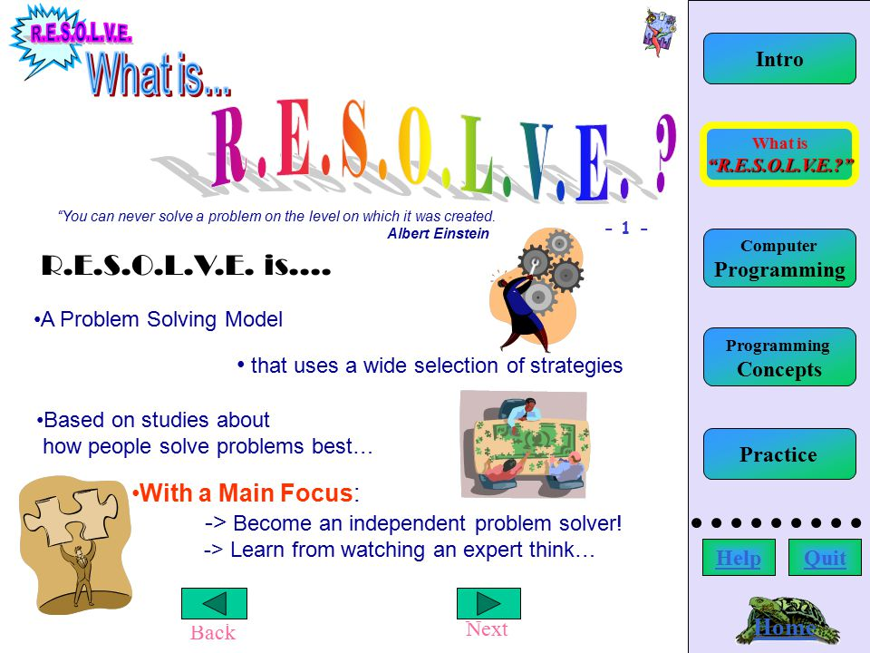 Home Back Next What is R.E.S.O.L.V.E.? Home Intro You can never solve a problem on the level on which it was created.