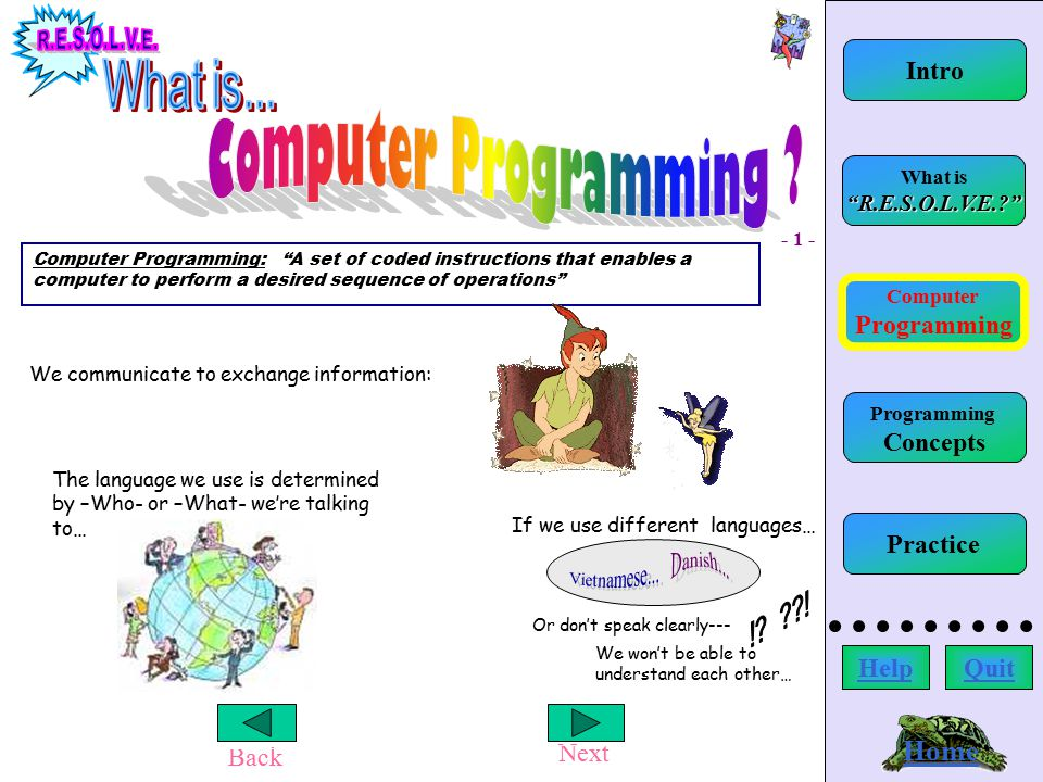 Home Back Next Computer Programming Home What is R.E.S.O.L.V.E.? Computer Programming: A set of coded instructions that enables a computer to perform a desired sequence of operations We communicate to exchange information: The language we use is determined by –Who- or –What- we're talking to… If we use different languages… Or don't speak clearly--- We won't be able to understand each other… - 1 - Intro HelpQuit Programming Concepts Practice