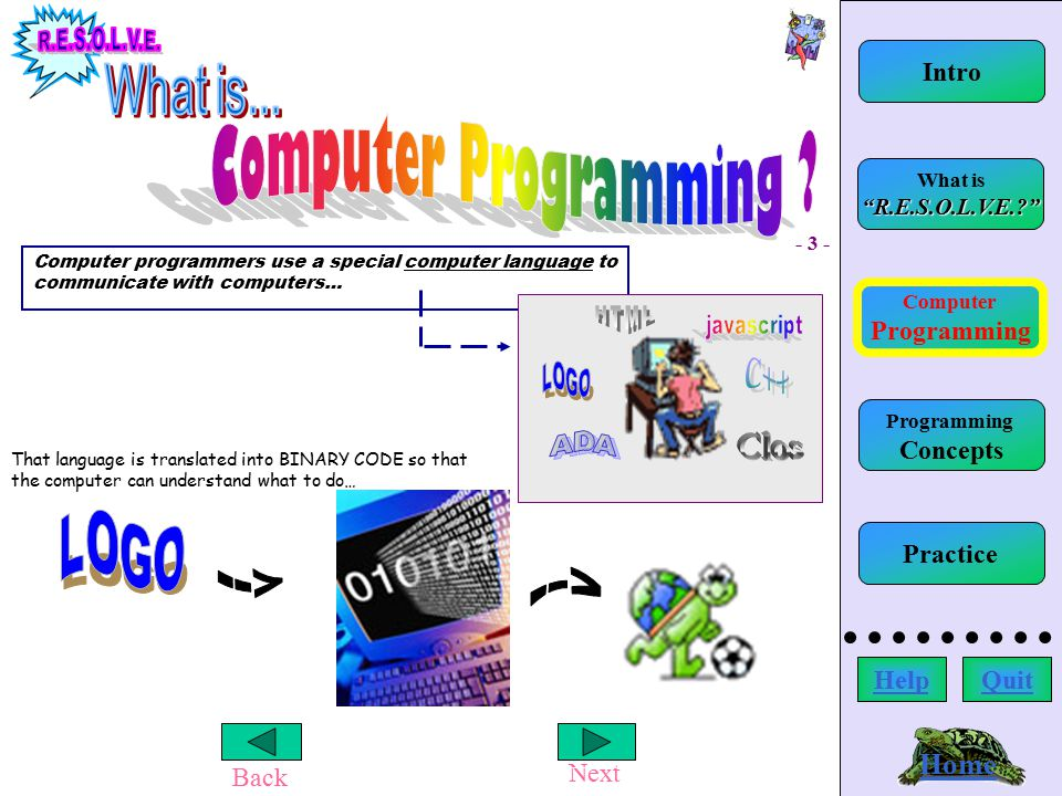 Back Next Using R.E.S.O.L.V.E. Home Computer Programming What is R.E.S.O.L.V.E.? Intro HelpQuit Programming Concepts Practice YOU WILL SEE an error message in the command center that appears when the procedure is run.