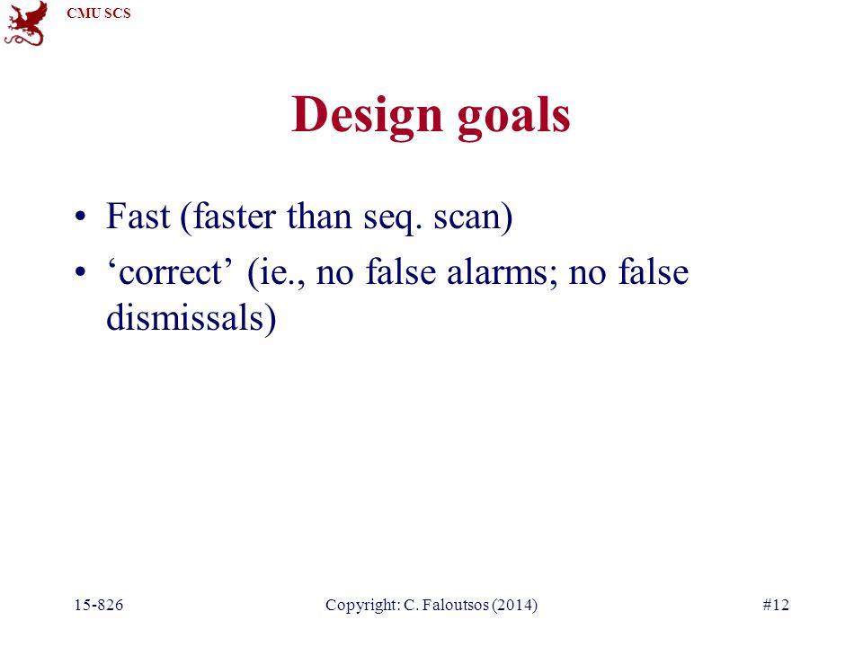 CMU SCS 15-826Copyright: C. Faloutsos (2014)#12 Design goals Fast (faster than seq.