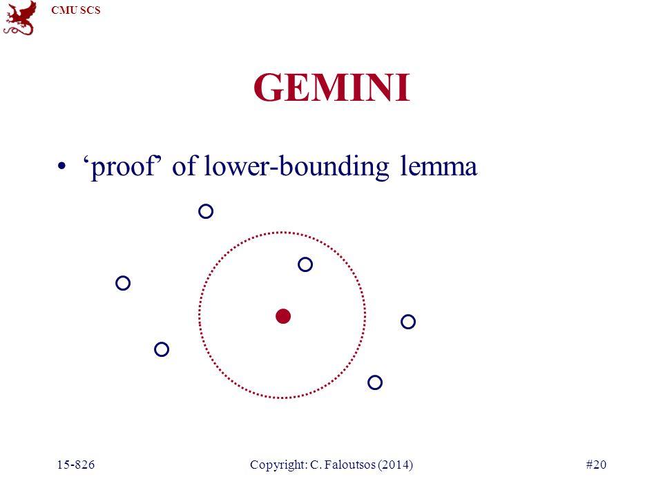 CMU SCS GEMINI 'proof' of lower-bounding lemma 15-826Copyright: C. Faloutsos (2014)#20