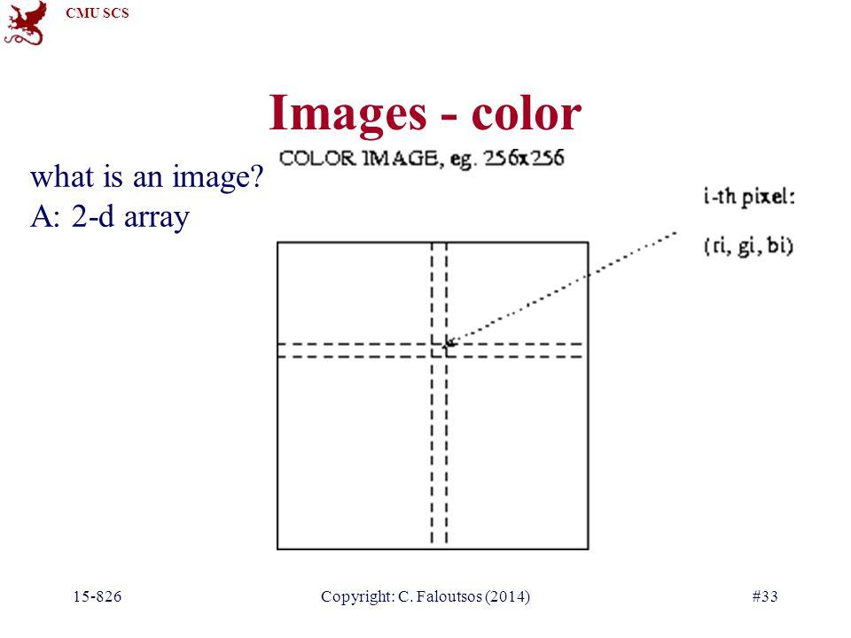 CMU SCS 15-826Copyright: C. Faloutsos (2014)#33 Images - color what is an image? A: 2-d array