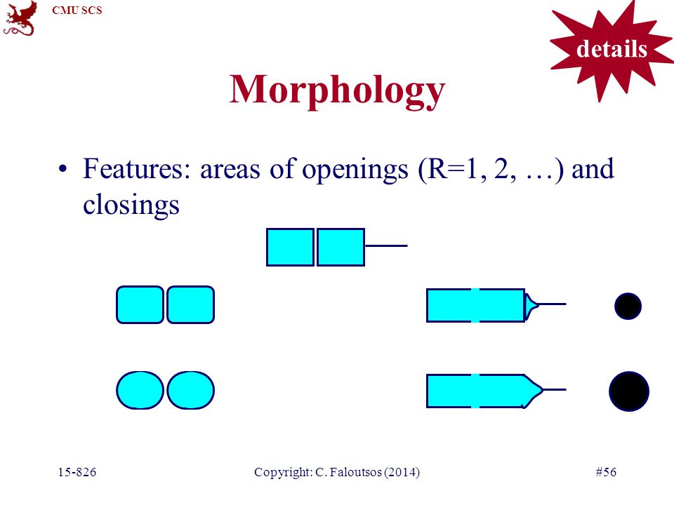 CMU SCS 15-826Copyright: C. Faloutsos (2014)#56 Morphology Features: areas of openings (R=1, 2, …) and closings details