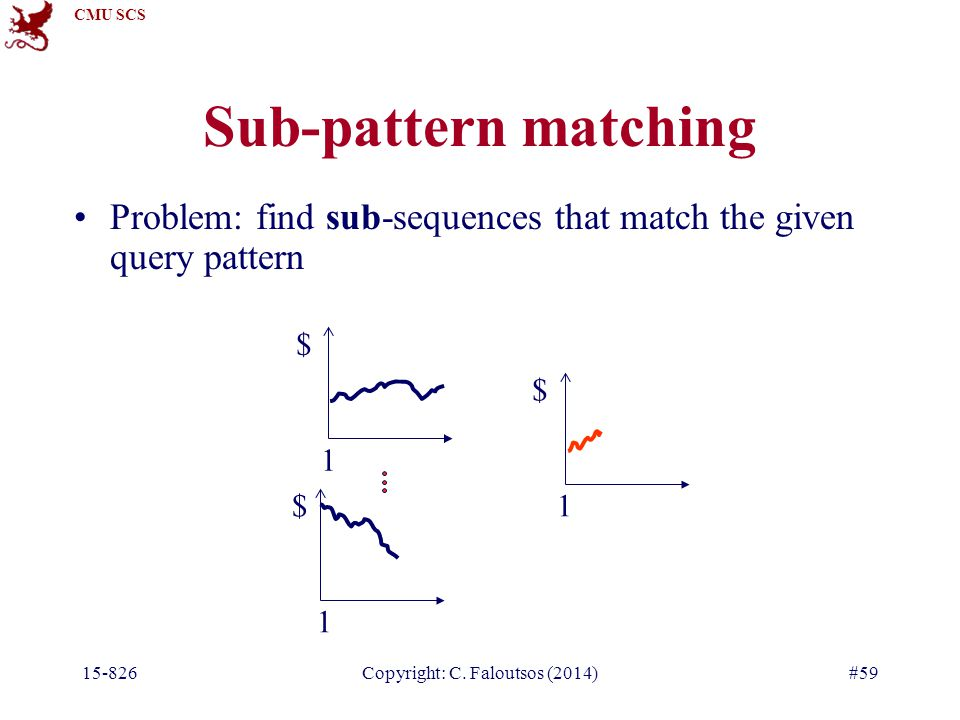 CMU SCS 15-826Copyright: C. Faloutsos (2014)#59 Sub-pattern matching Problem: find sub-sequences that match the given query pattern $ 1 $ 1 $ 1