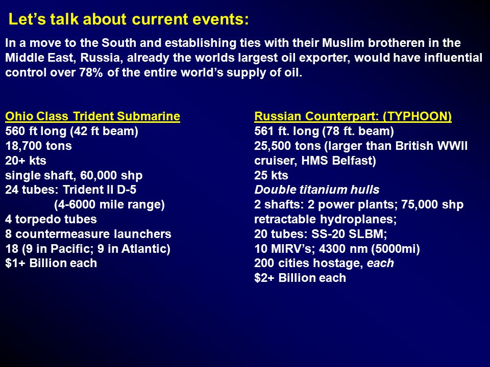 Let's talk about current events: In a move to the South and establishing ties with their Muslim brotheren in the Middle East, Russia, already the worlds largest oil exporter, would have influential control over 78% of the entire world's supply of oil.