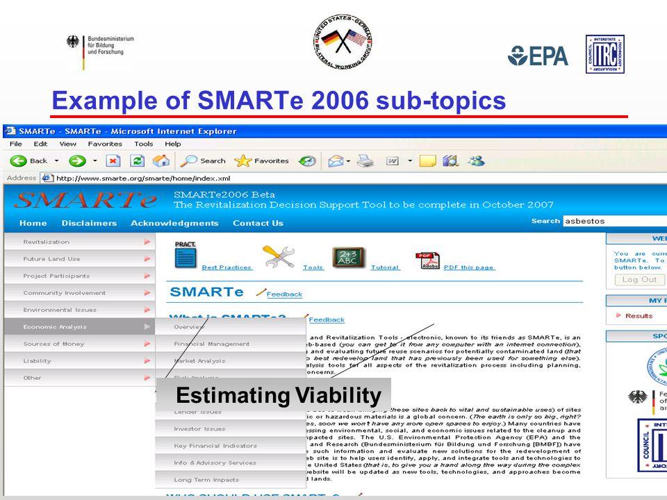 Example of SMARTe 2006 sub-topics Estimating Viability