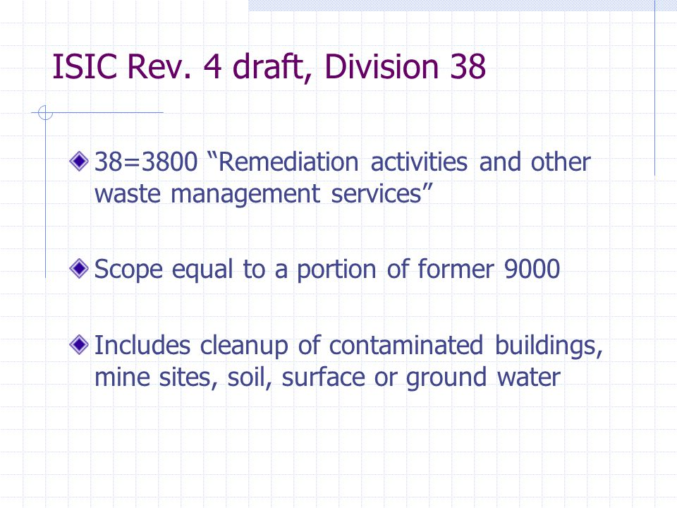 "ISIC Rev. 4 draft, Division 38 38=3800 ""Remediation activities and other waste management services"" Scope equal to a portion of former 9000 Includes c"