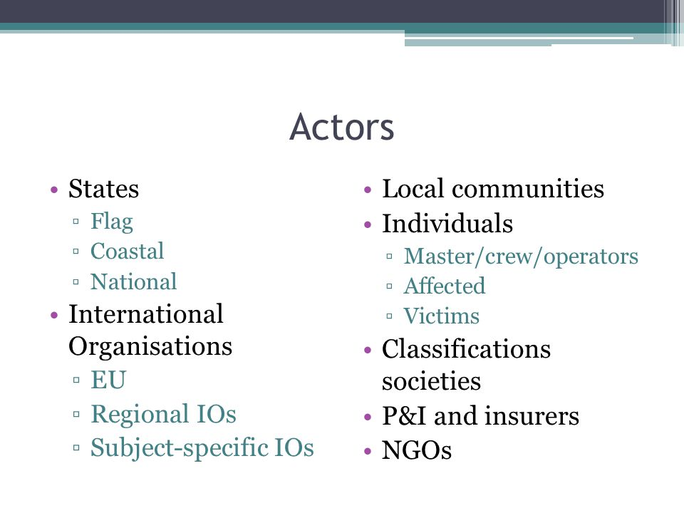 Actors States ▫Flag ▫Coastal ▫National International Organisations ▫EU ▫Regional IOs ▫Subject-specific IOs Local communities Individuals ▫Master/crew/operators ▫Affected ▫Victims Classifications societies P&I and insurers NGOs