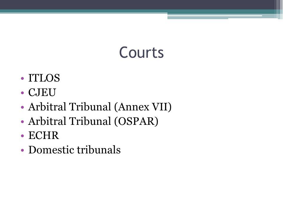 Courts ITLOS CJEU Arbitral Tribunal (Annex VII) Arbitral Tribunal (OSPAR) ECHR Domestic tribunals