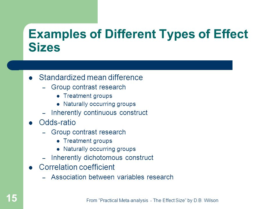 15 Examples of Different Types of Effect Sizes Standardized mean difference – Group contrast research Treatment groups Naturally occurring groups – Inherently continuous construct Odds-ratio – Group contrast research Treatment groups Naturally occurring groups – Inherently dichotomous construct Correlation coefficient – Association between variables research From Practical Meta-analysis - The Effect Size by D.B.