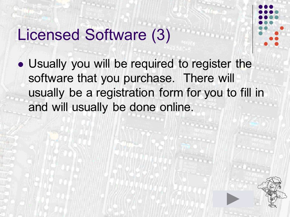Licensed Software (3) Usually you will be required to register the software that you purchase.