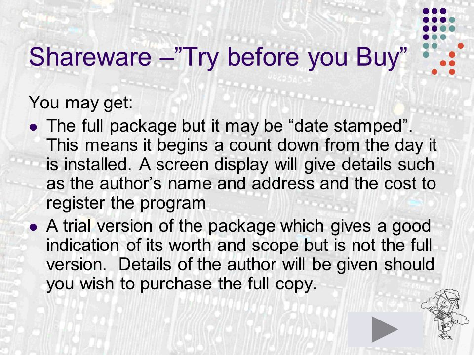 "Shareware –""Try before you Buy"" You may get: The full package but it may be ""date stamped"". This means it begins a count down from the day it is insta"