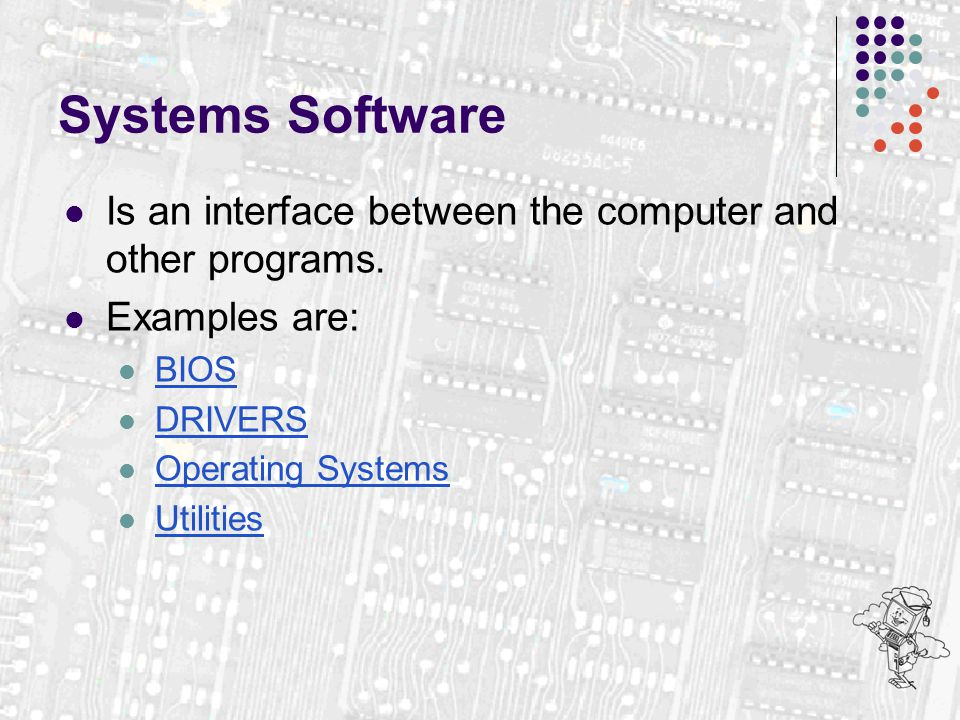 Systems Software Is an interface between the computer and other programs. Examples are: BIOS DRIVERS Operating Systems Utilities