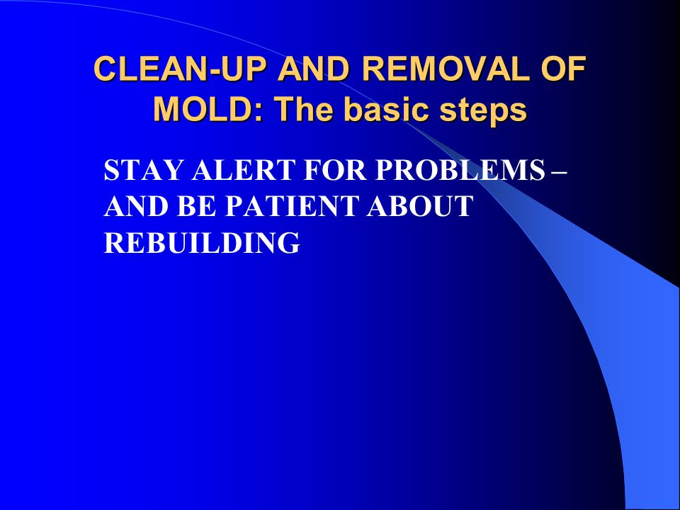 CLEAN-UP AND REMOVAL OF MOLD: The basic steps STAY ALERT FOR PROBLEMS – AND BE PATIENT ABOUT REBUILDING