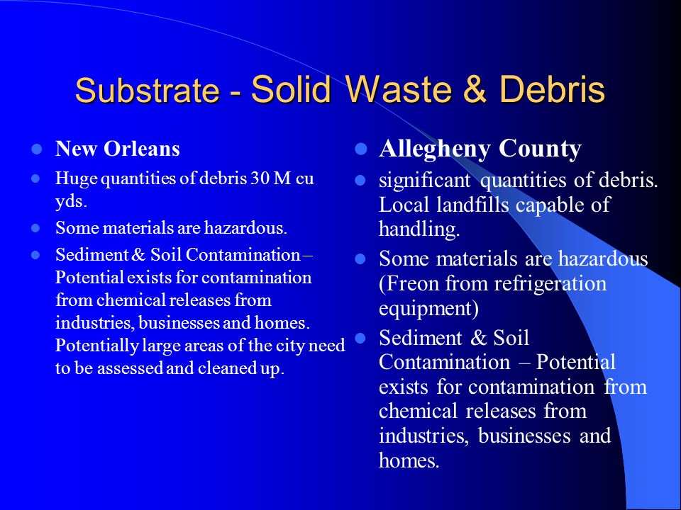 Substrate - Solid Waste & Debris New Orleans Huge quantities of debris 30 M cu yds.