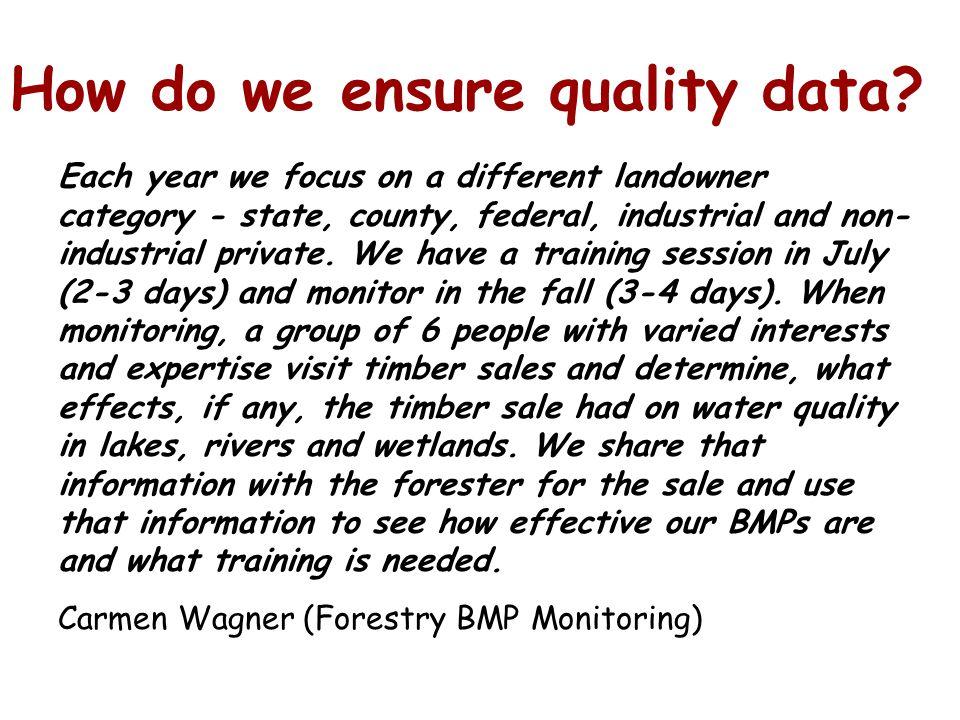 How do we ensure quality data.