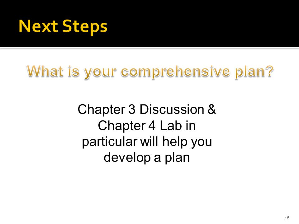 16 Chapter 3 Discussion & Chapter 4 Lab in particular will help you develop a plan