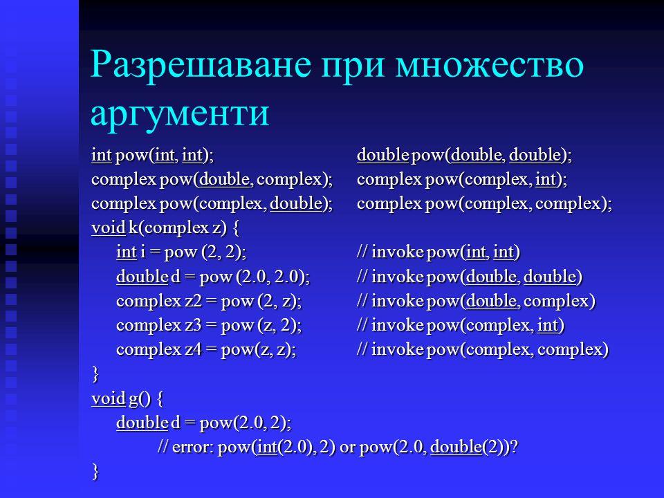 Разрешаване при множество аргументи int pow(int, int);double pow(double, double); complex pow(double, complex);complex pow(complex, int); complex pow(complex, double);complex pow(complex, complex); void k(complex z) { int i = pow (2, 2); // invoke pow(int, int) double d = pow (2.0, 2.0); // invoke pow(double, double) complex z2 = pow (2, z); // invoke pow(double, complex) complex z3 = pow (z, 2); // invoke pow(complex, int) complex z4 = pow(z, z); // invoke pow(complex, complex) } void g() { double d = pow(2.0, 2); // error: pow(int(2.0), 2) or pow(2.0, double(2)).