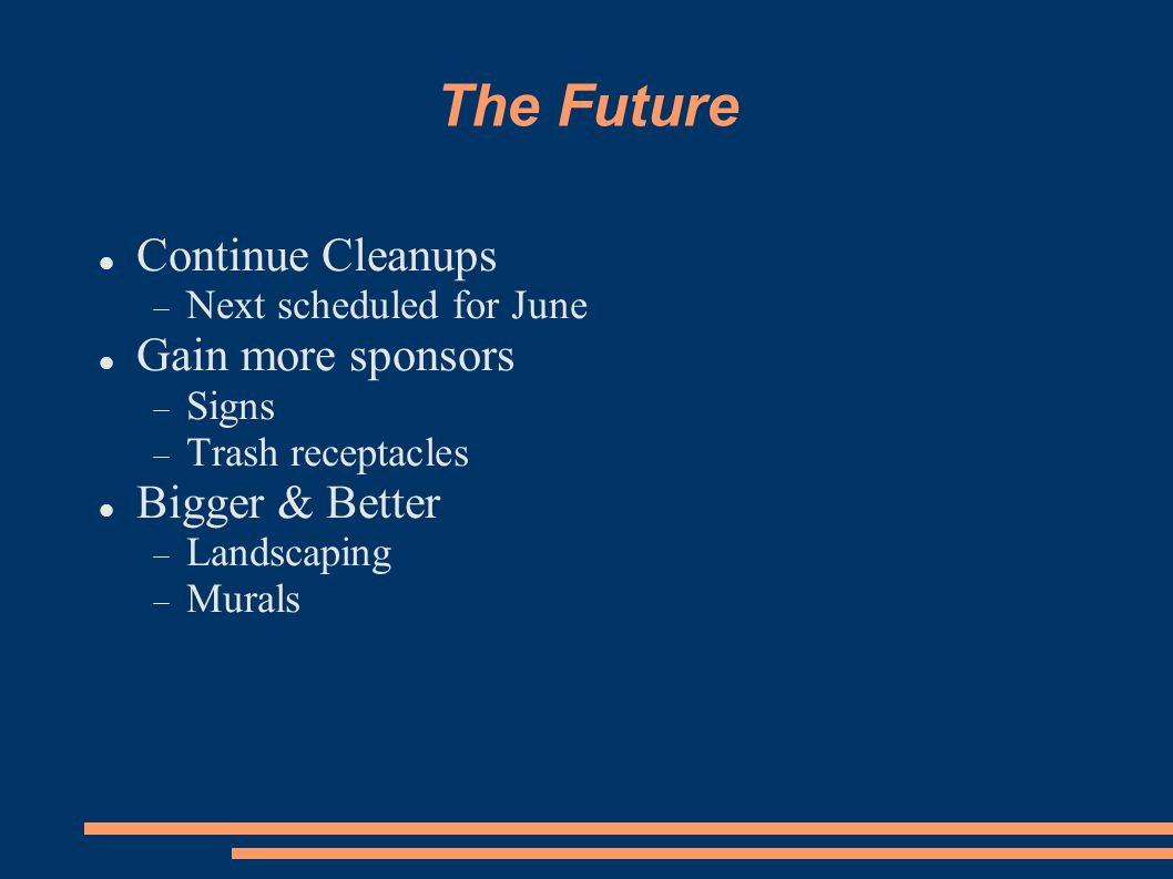 The Future Continue Cleanups  Next scheduled for June Gain more sponsors  Signs  Trash receptacles Bigger & Better  Landscaping  Murals