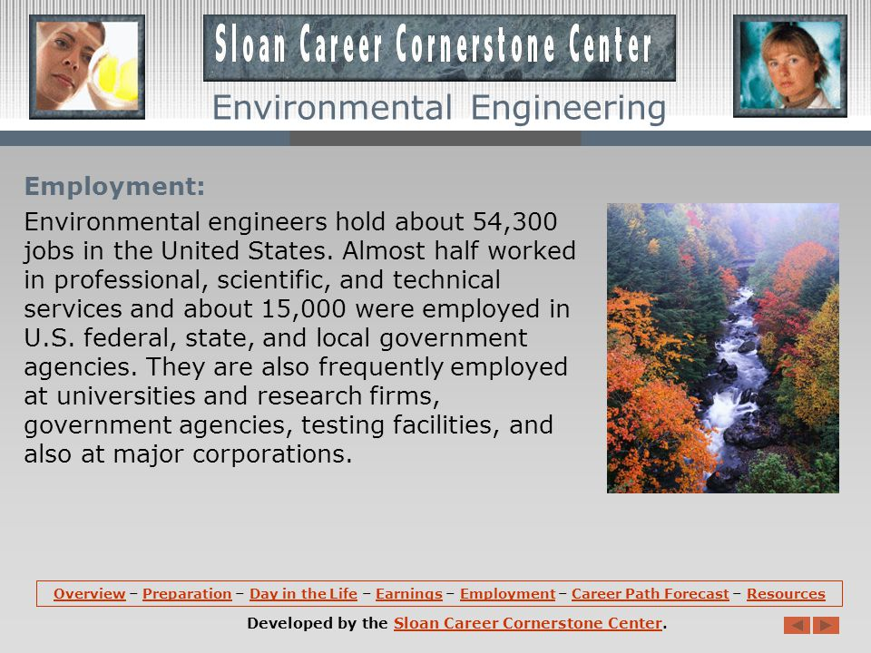 Earnings: According the U.S. Department of Labor, Bureau of Labor Statistics, the median income for environmental engineers is $74,020. The lowest 10%