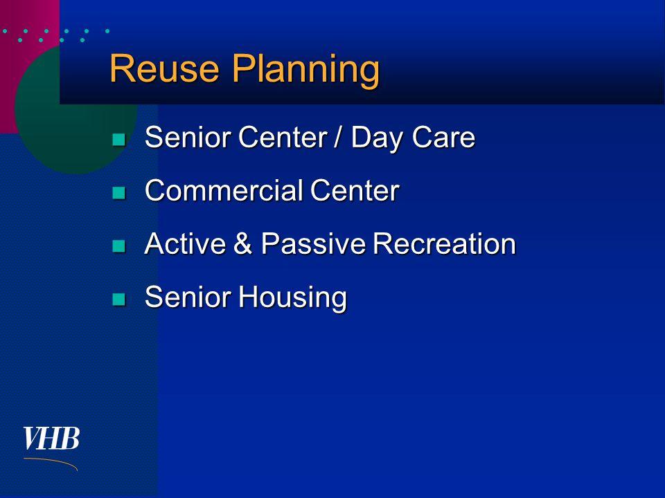  Reuse Planning Senior Center / Day Care Senior Center / Day Care Commercial Center Commercial Center Active & Passive Recreation Active & Passive Recreation Senior Housing Senior Housing