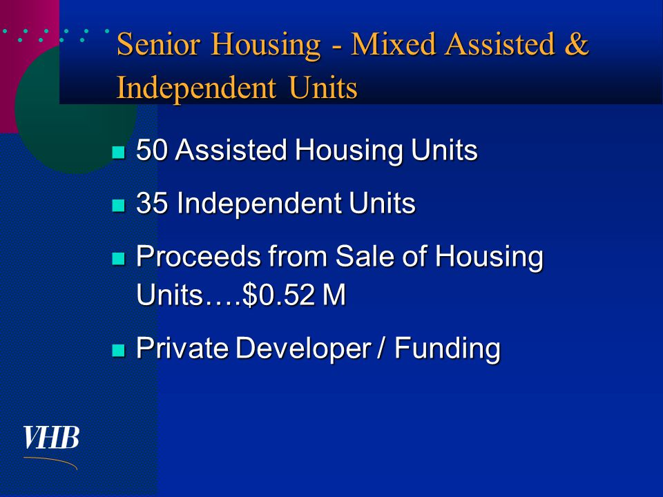  Senior Housing - Mixed Assisted & Independent Units 50 Assisted Housing Units 50 Assisted Housing Units 35 Independent Units 35 Independent Units Proceeds from Sale of Housing Units….$0.52 M Proceeds from Sale of Housing Units….$0.52 M Private Developer / Funding Private Developer / Funding