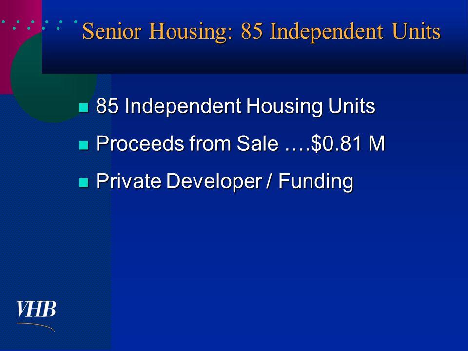  Senior Housing: 85 Independent Units 85 Independent Housing Units 85 Independent Housing Units Proceeds from Sale ….$0.81 M Proceeds from Sale ….$0.81 M Private Developer / Funding Private Developer / Funding