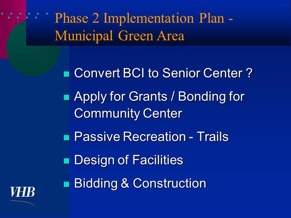  Phase 2 Implementation Plan - Municipal Green Area Convert BCI to Senior Center .