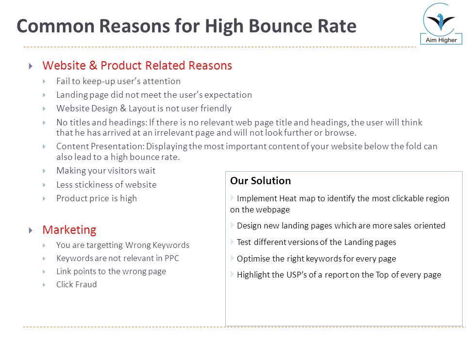 Common Reasons for High Bounce Rate  Website & Product Related Reasons  Fail to keep-up user's attention  Landing page did not meet the user's expe