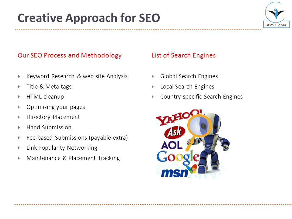Creative Approach for SEO Our SEO Process and Methodology  Keyword Research & web site Analysis  Title & Meta tags  HTML cleanup  Optimizing your