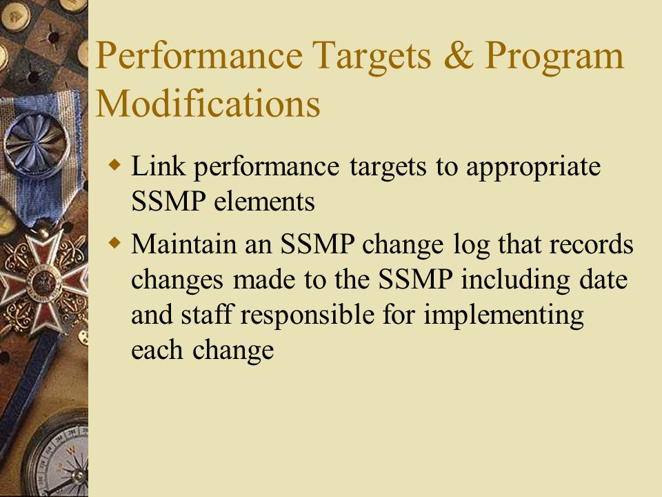 Performance Targets & Program Modifications  Link performance targets to appropriate SSMP elements  Maintain an SSMP change log that records changes made to the SSMP including date and staff responsible for implementing each change